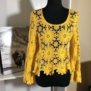 Tops - Yellow crochet floral top